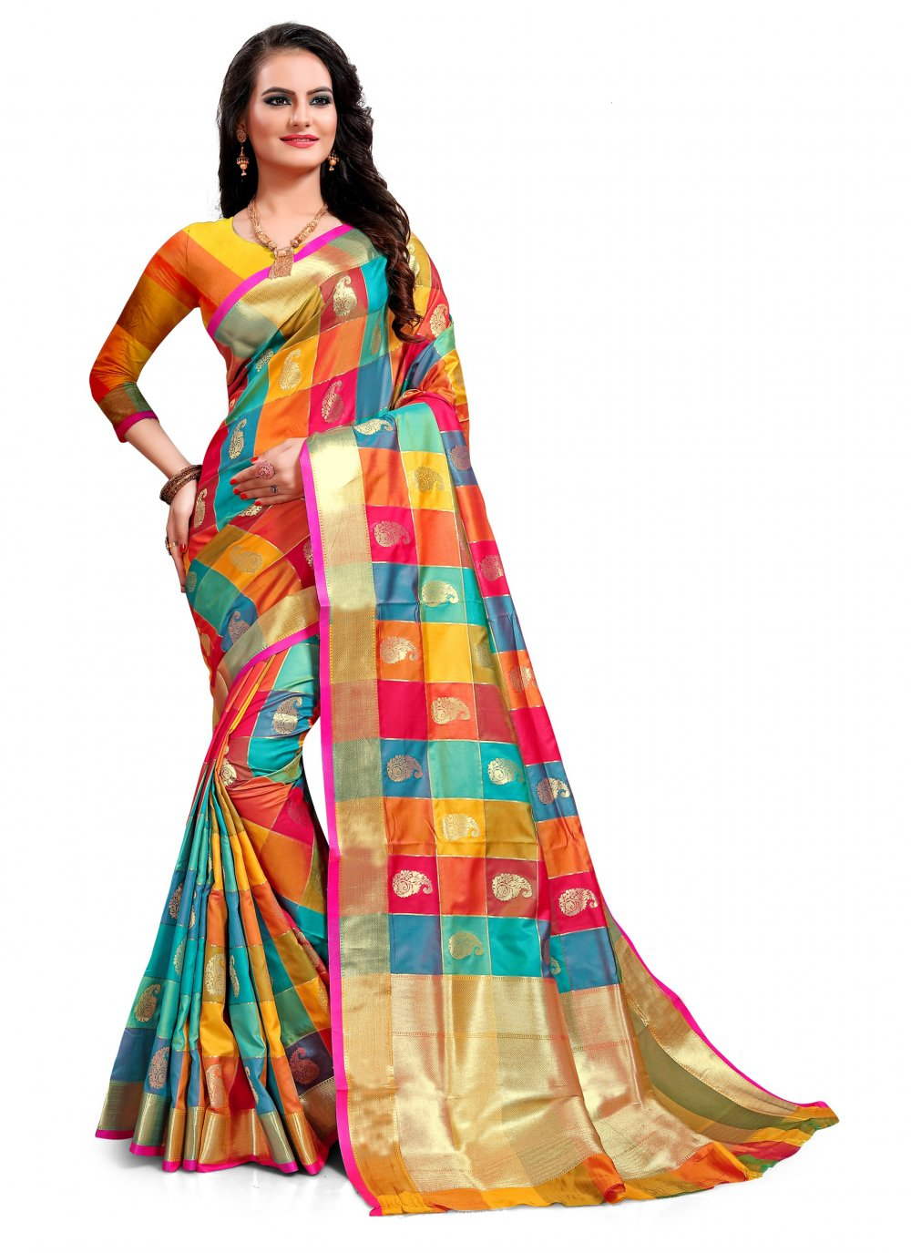 Multi Colour Jacquard Silk Weaving Classic Saree
