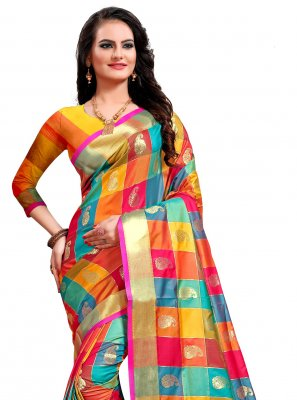 Multi Colour Jacquard Silk Weaving Classic Saree