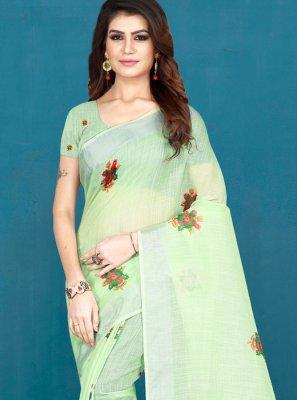 Multi Colour Khadi Silk Printed Saree