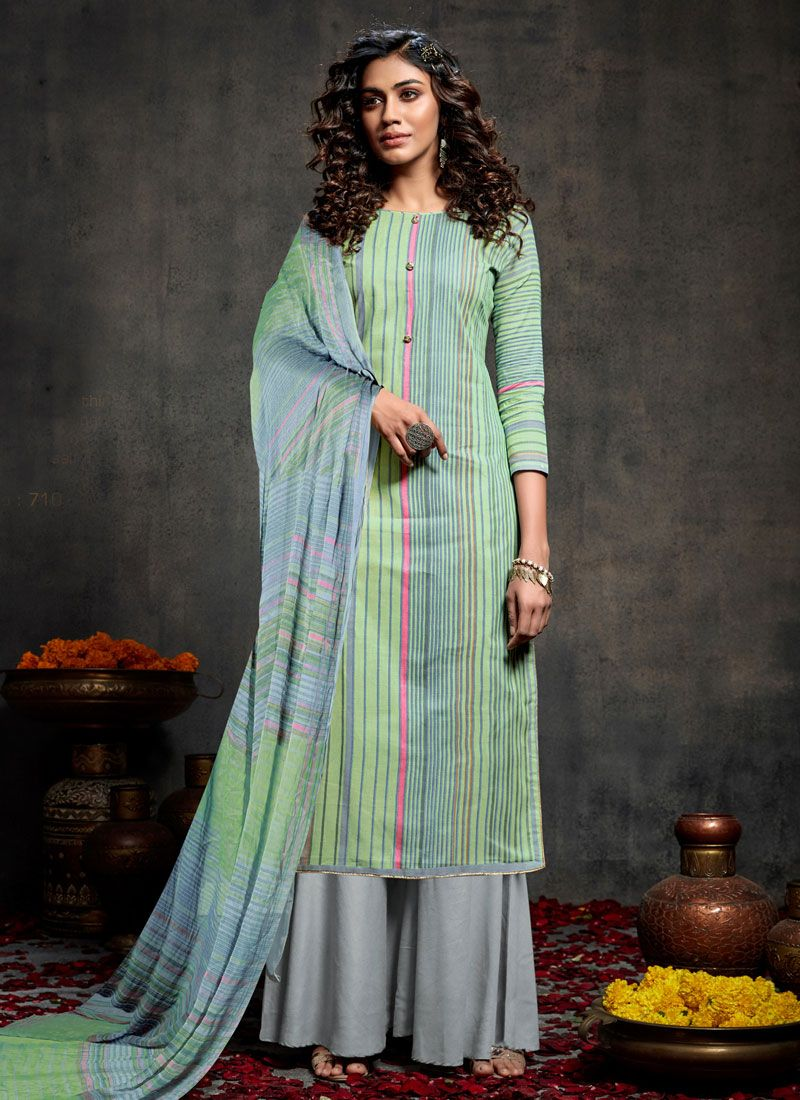 Multi Colour Mehndi Palazzo Designer Salwar Kameez