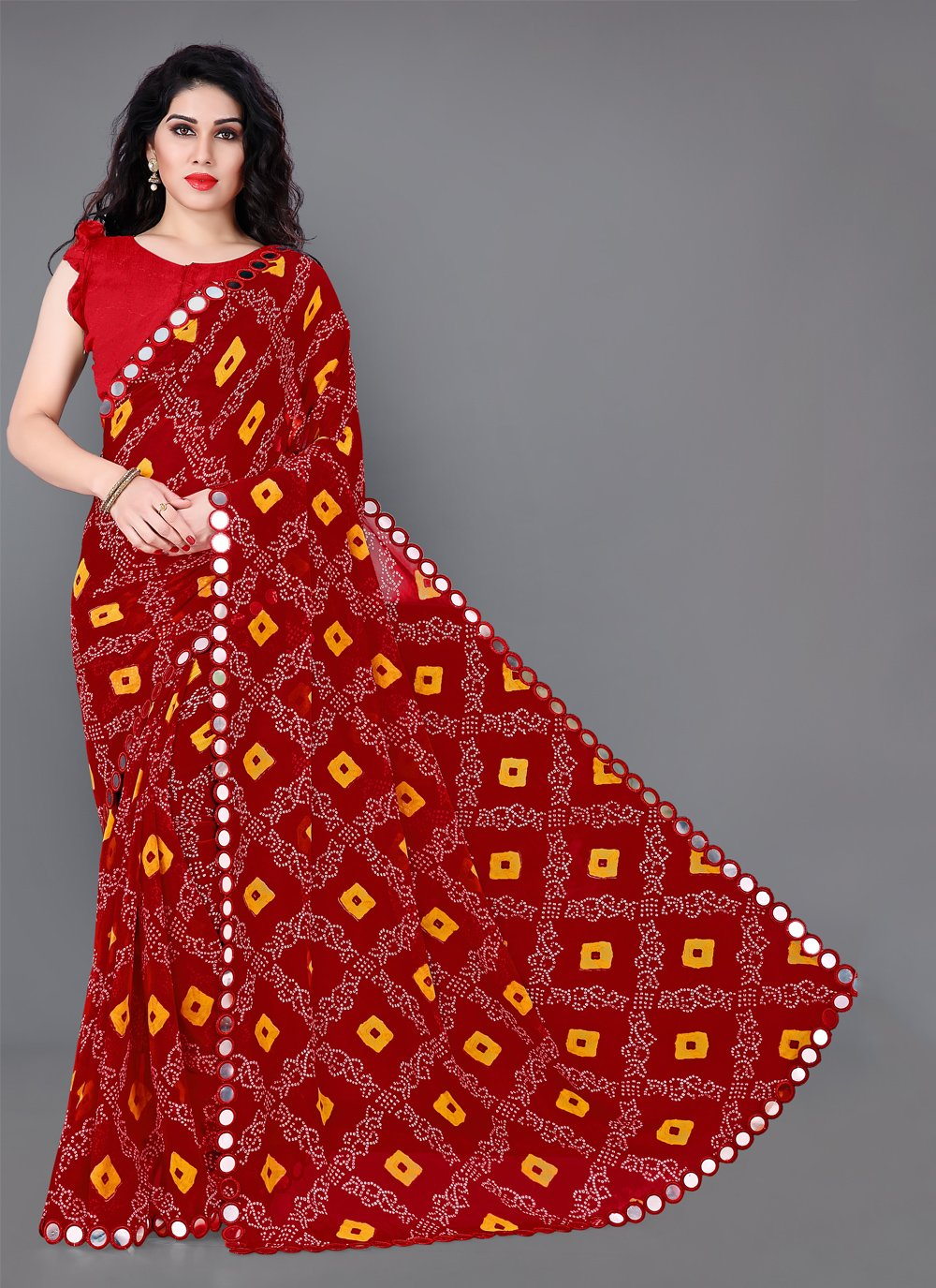 Multi Colour Mirror Faux Georgette Classic Saree
