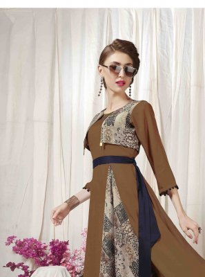Multi Colour Muslin Engagement Designer Kurti