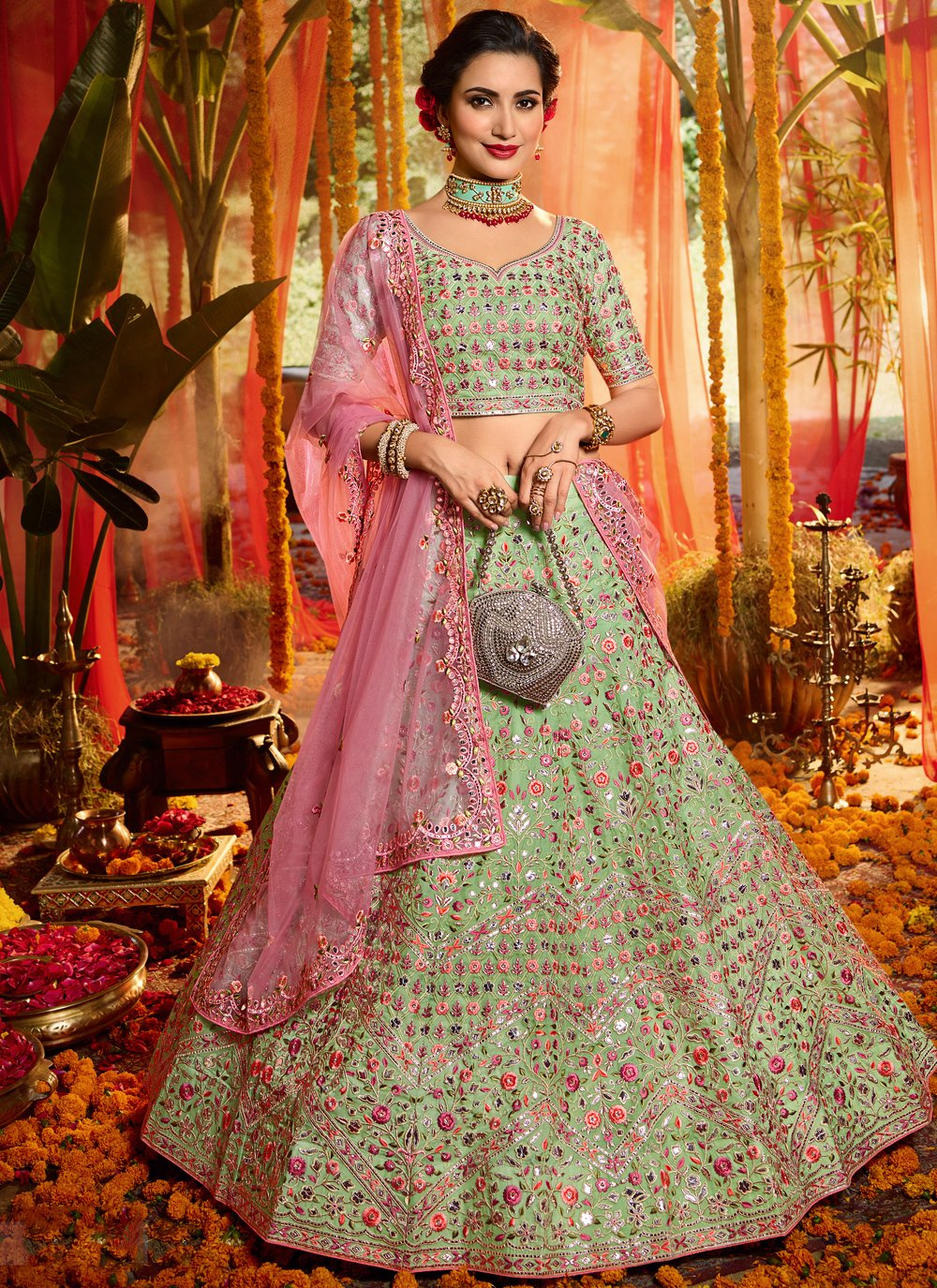 Multi Colour Organza A Line Lehenga Choli