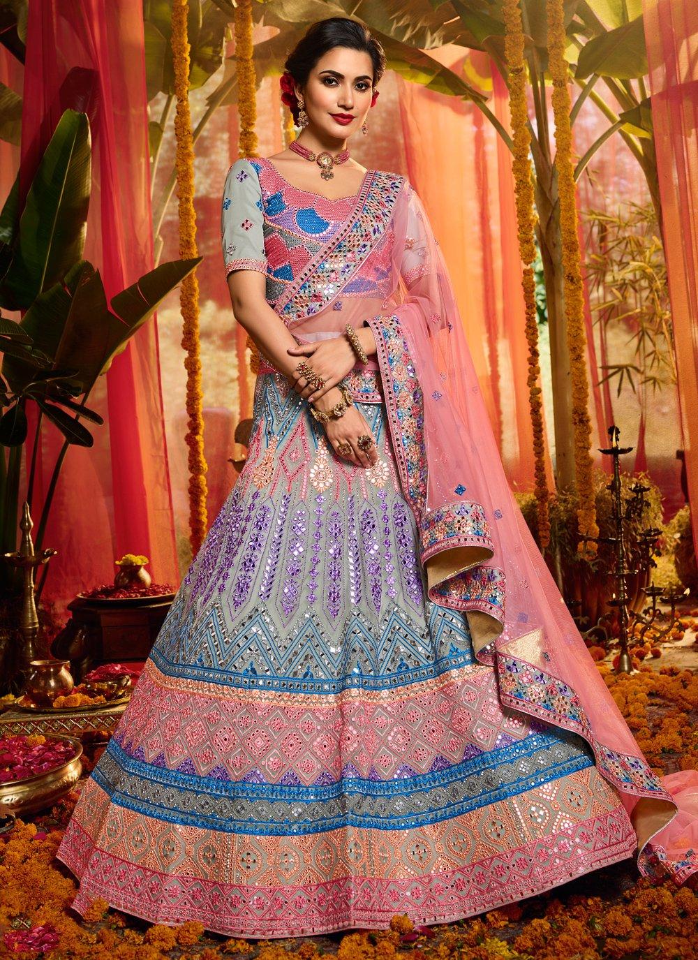 Multi Colour Organza Party Trendy Lehenga Choli