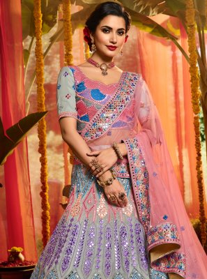 Multi Colour Organza Party Trendy Lehenga Choli