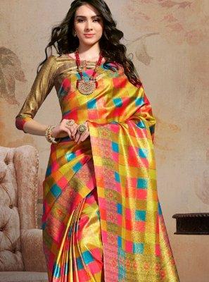 Multi Colour Party Art Silk Printed Saree