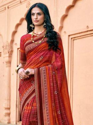 Multi Colour Party Chanderi Bollywood Saree