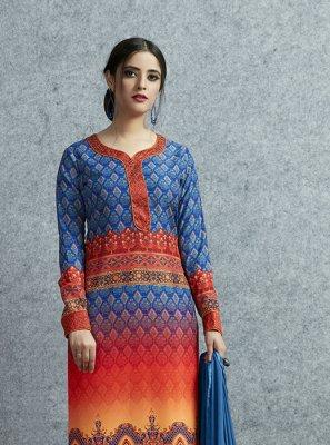 Multi Colour Party Cotton Salwar Kameez