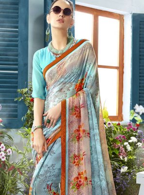 Multi Colour Party Georgette Classic Designer Saree