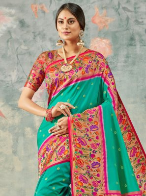 Multi Colour Party Handloom silk Classic Saree