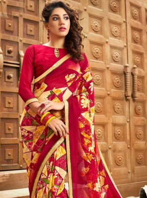 Multi Colour Party Printed Saree