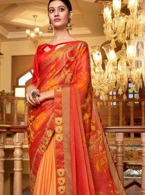 Multi Colour Party Pure Chiffon Designer Traditional Saree