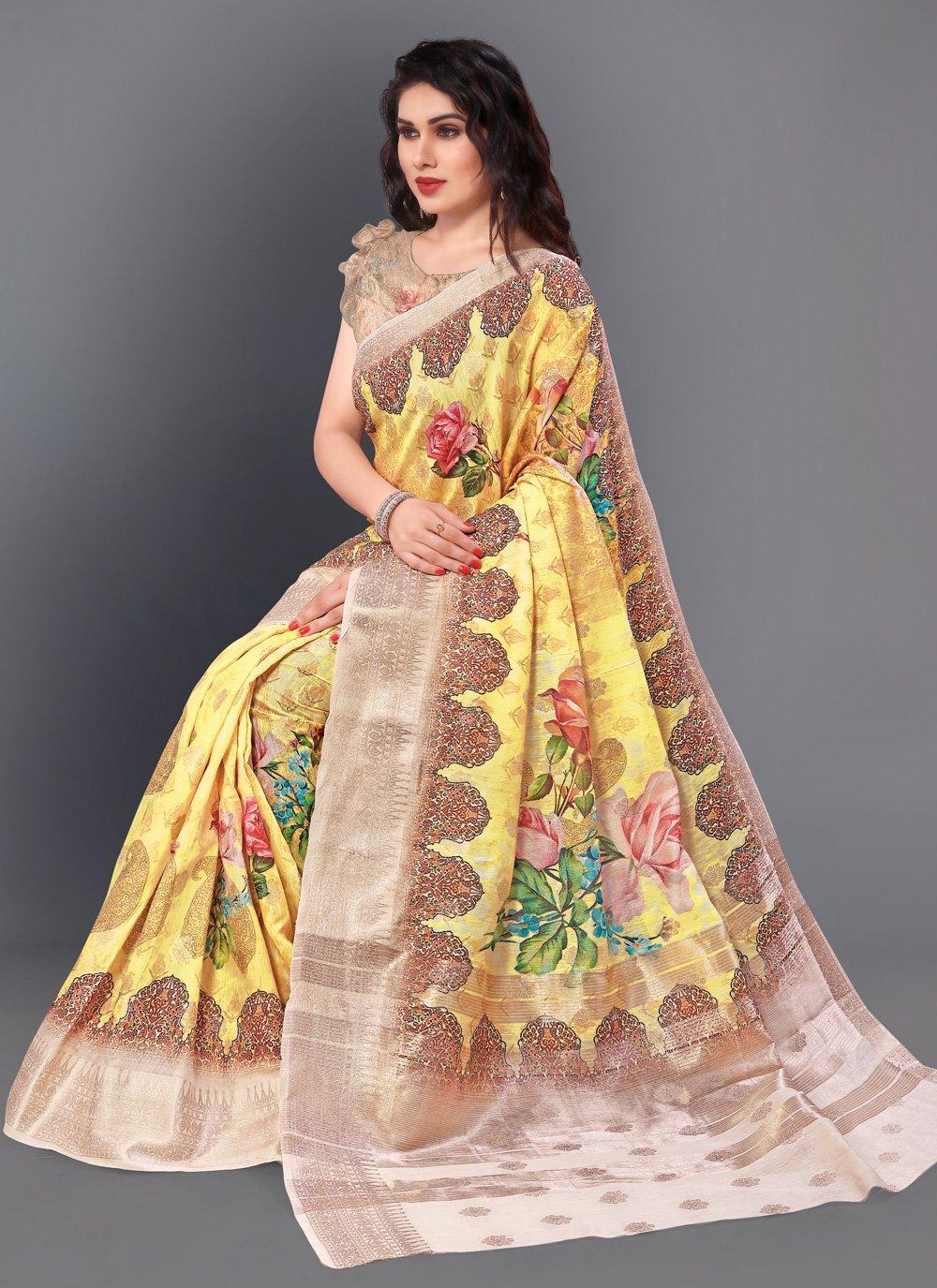 Multi Colour Party Silk Casual Saree