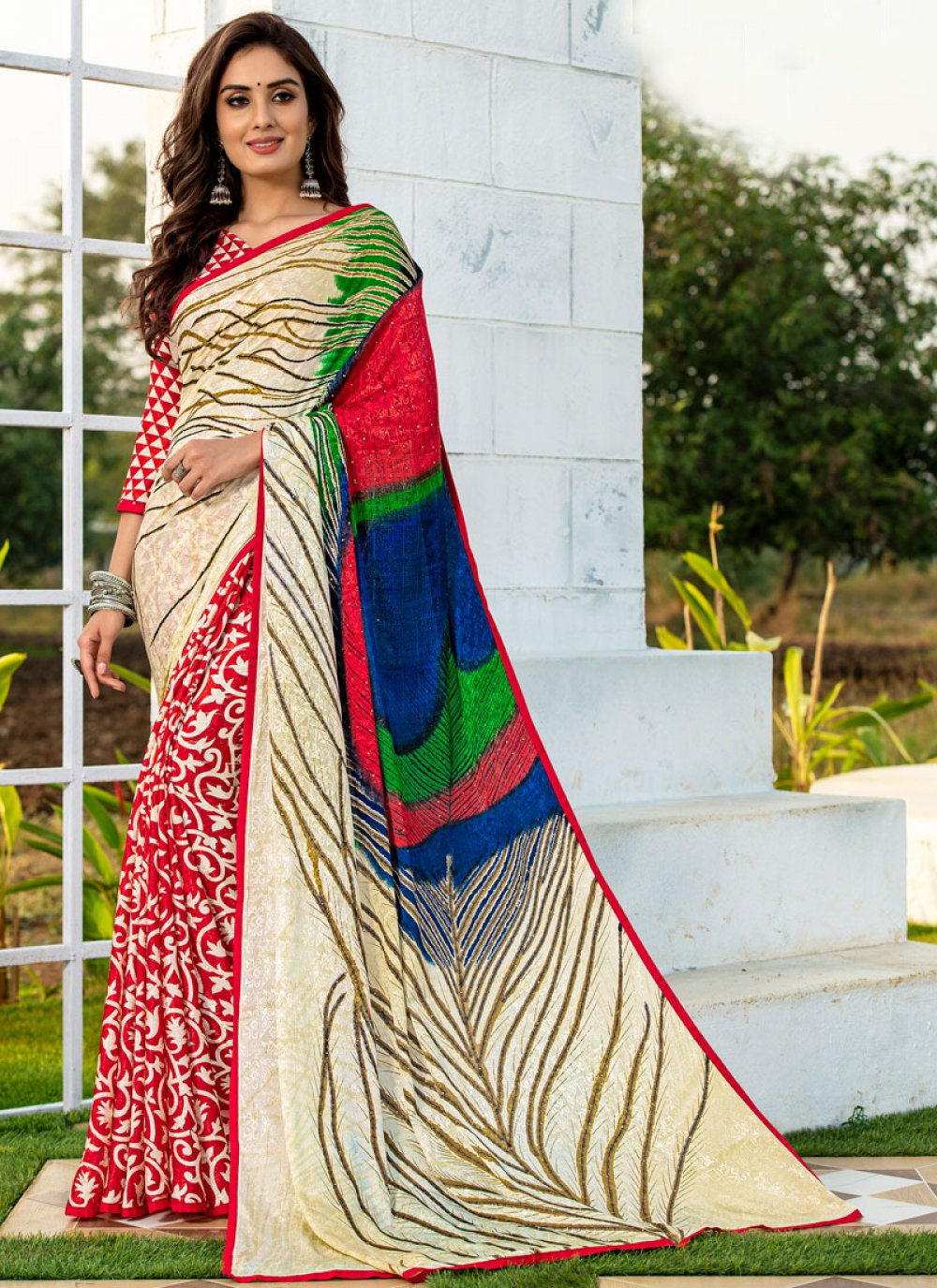 Multi Colour Party Silk Printed Saree