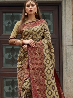Multi Colour Party Silk Saree
