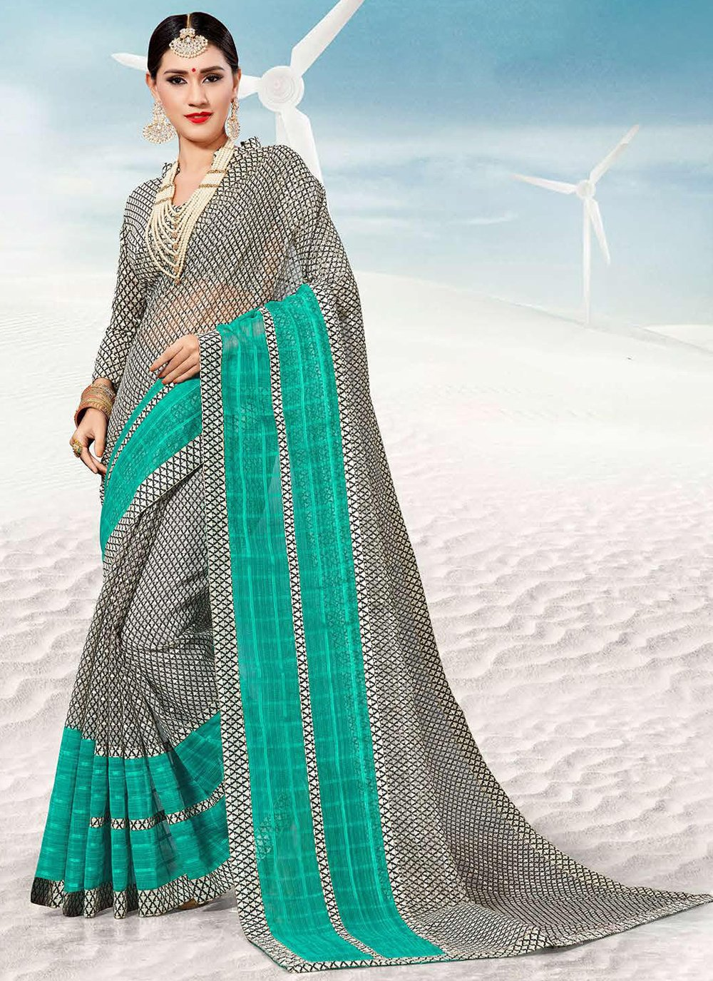 Multi Colour Party Traditional Saree