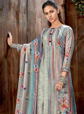 Multi Colour Pashmina Palazzo Straight Salwar Suit