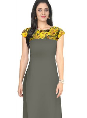 Multi Colour Plain Casual Kurti