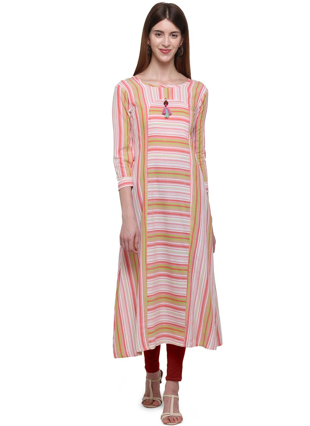 Multi Colour Plain Party Casual Kurti