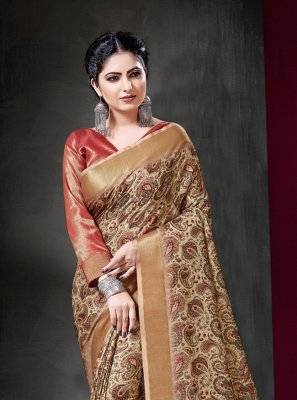 Multi Colour Print Art Silk Traditional Saree