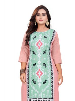 Multi Colour Print Faux Crepe Casual Kurti