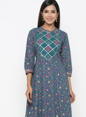 Multi Colour Print Party Casual Kurti