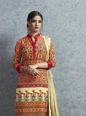 Multi Colour Print Party Salwar Suit