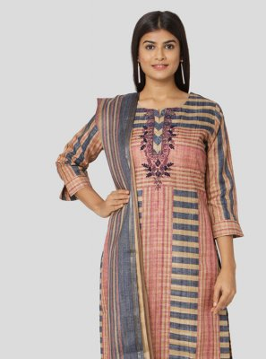 Multi Colour Printed Art Silk Salwar Suit