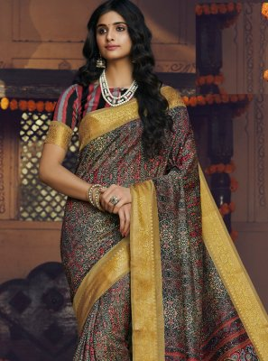 Multi Colour Printed Classic Designer Saree