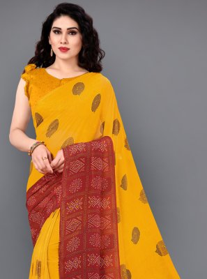 Multi Colour Printed Classic Saree
