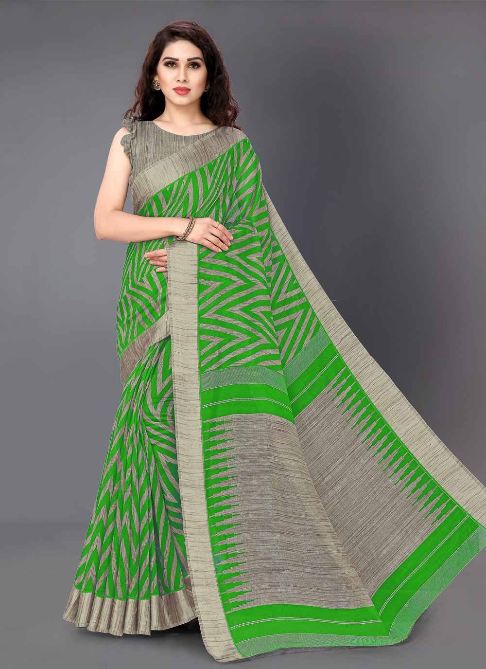 Multi Colour Printed Cotton Casual Saree