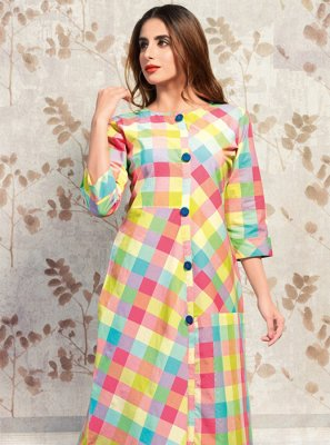 Multi Colour Printed Cotton Party Wear Kurti