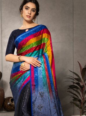 Multi Colour Printed Faux Crepe Printed Saree