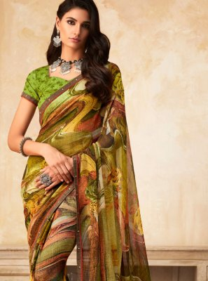 Multi Colour Printed Festival Printed Saree