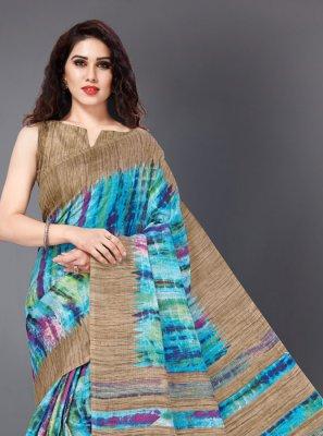Multi Colour Printed Khadi Silk Classic Saree