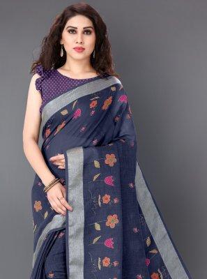 Multi Colour Printed Linen Classic Saree