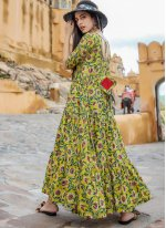 Multi Colour Printed Muslin Readymade Designer Gown