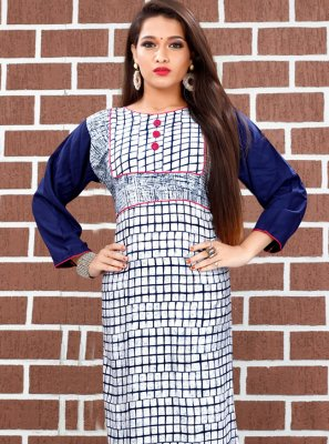 Multi Colour Printed Party Casual Kurti