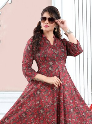 Multi Colour Printed Party Wear Kurti