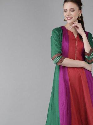 Multi Colour Printed Poly Silk Kurta