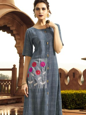 Multi Colour Printed Rayon Party Wear Kurti
