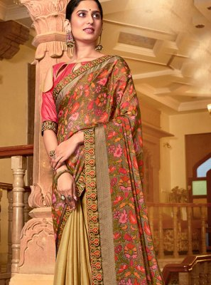Multi Colour Printed Reception Designer Traditional Saree