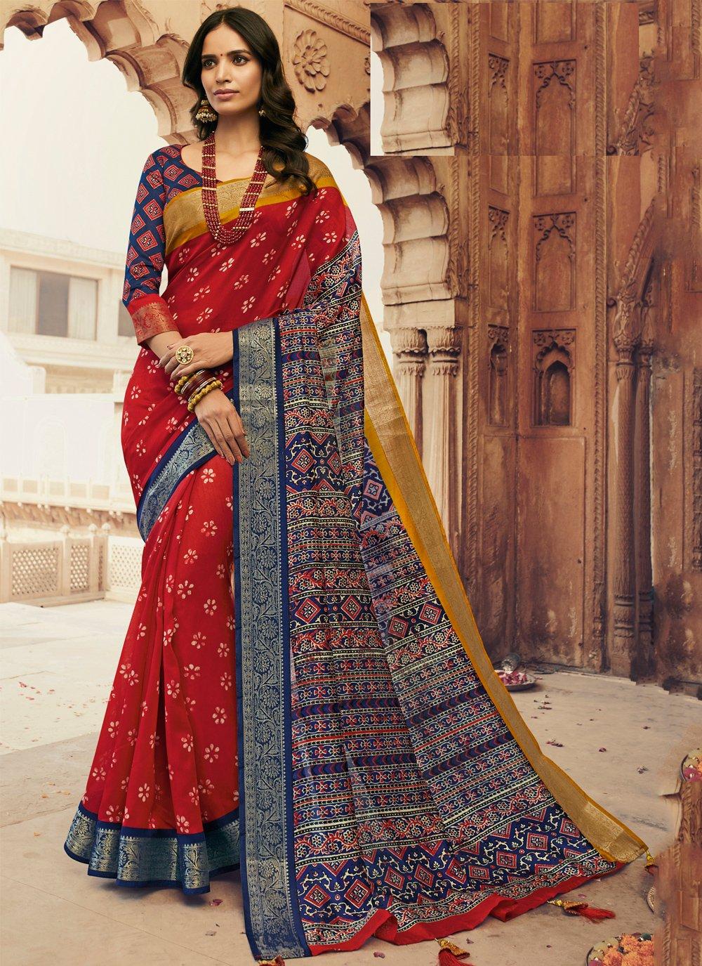 Multi Colour Printed Silk Traditional Saree