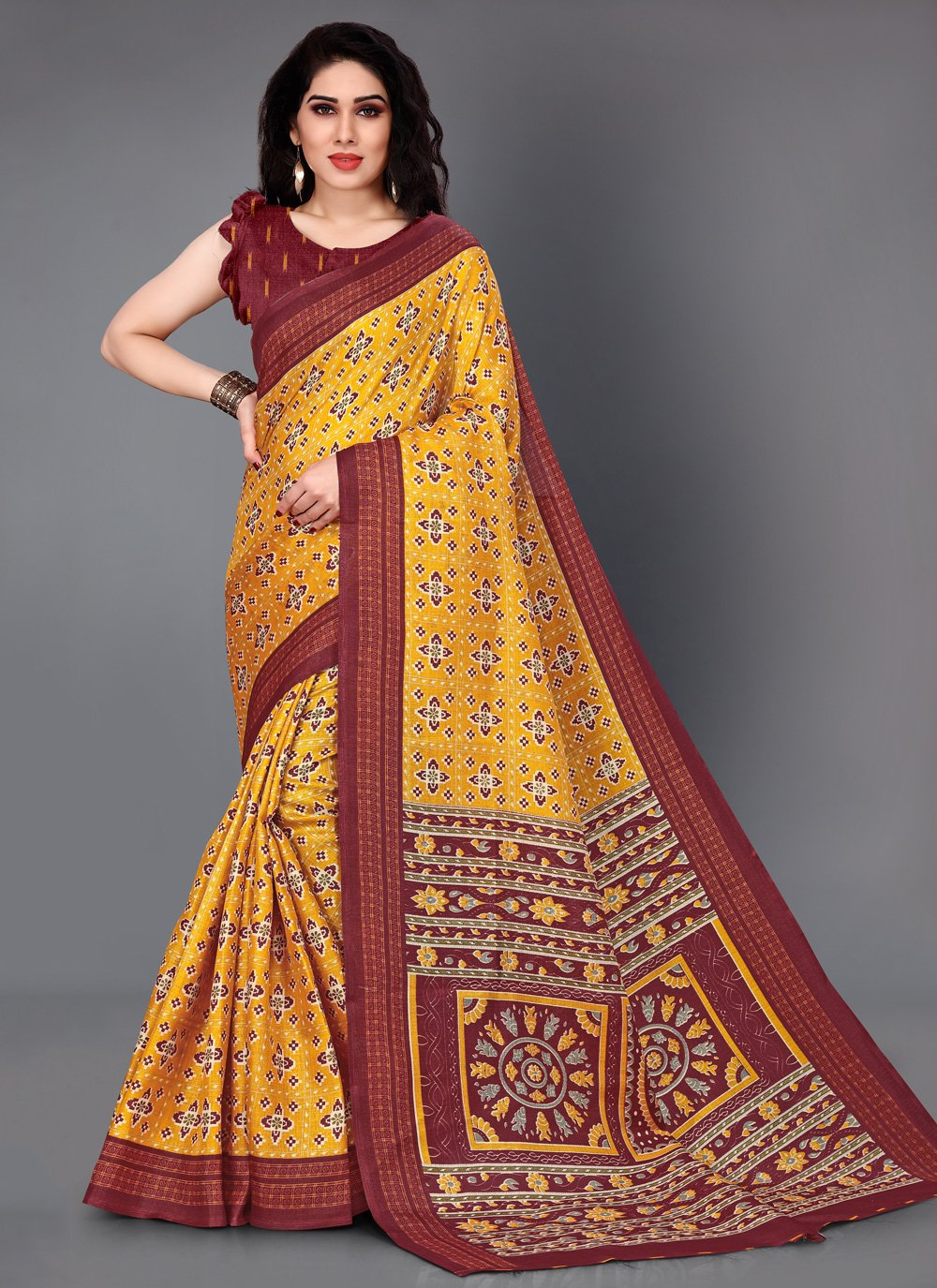 Multi Colour Printed Silk Trendy Saree