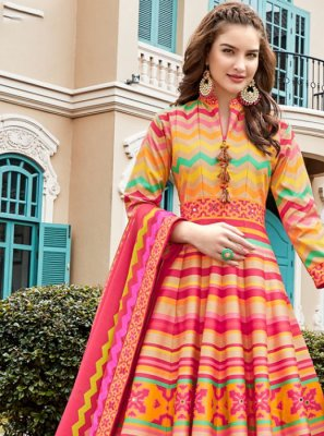 Multi Colour Printed Trendy Anarkali Salwar Suit