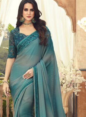 Multi Colour Pure Chiffon Saree