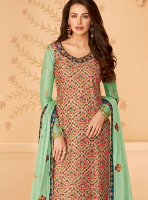 Multi Colour Reception Tussar Silk Pakistani Salwar Kameez