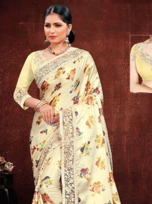 Multi Colour Resham Georgette Satin Classic Saree