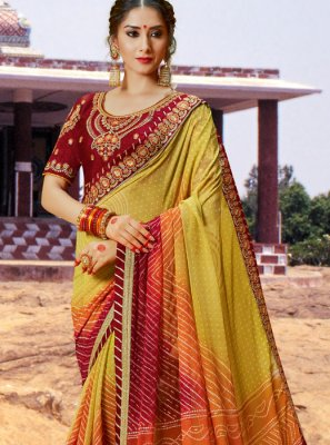 Multi Colour Sangeet Bandhej Saree