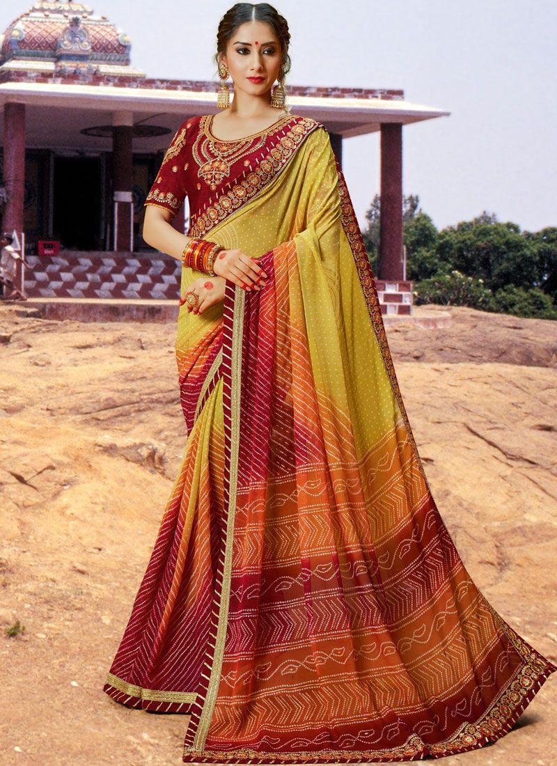 Multi Colour Sangeet Bandhej Saree
